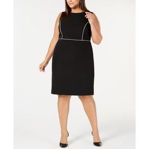 NWT KASPER Plus Size Piped-trim Sheath Dress, 18W